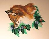 Fox and blackberry study--original art