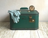 Vintage Train Case, Lady Baltimore, Dark Green Luggage, Travel Case Retro