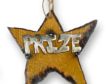 Prize Metal Star Christmas Ornament Rustic Holiday