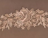Hand Dyed Floral Venise Lace Applique Rose Swag Aged Blush Patina