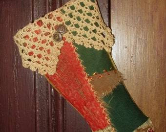 Vintage Crazy Quilt Small Christmas Stocking Vintage Lace n Buttons
