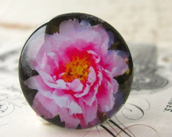 Pink flower cabochon, floral handmade cabochon, hot pink, glass cabochon, round 22mm cabochon, flat back image
