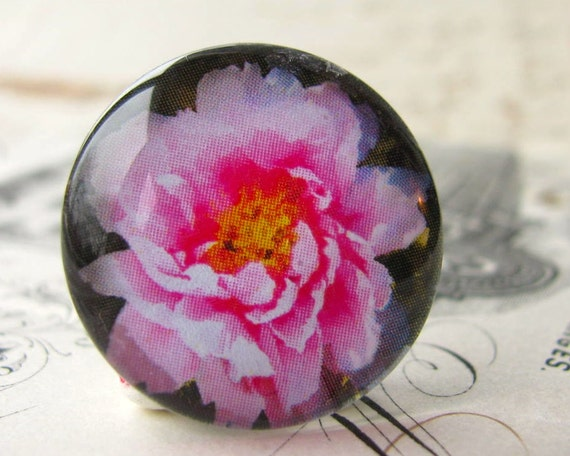 Pink peony cabochon, floral handmade cabochon, hot pink, glass cabochon, round 22mm cabochon, flat back image, original art