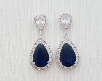 Blue Earrings Wedding Jewelry Something Blue Bridal Earrings Large Dark Sapphire Blue Cubic Zirconia Teardrop Wedding Earrings, Aoi