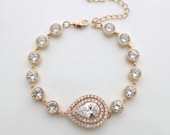 Rose Gold Wedding Bracelet, Bridal Jewelry, Rose Gold Bridal Bracelet, Teardrop Crystal Bracelet, Wedding Jewelry, Joni Bracelet
