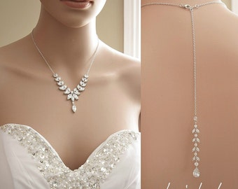 Cubic Zirconia Necklace Bridal Back Necklace Wedding Jewelry Crystal Backdrop Necklace, Katie Necklace