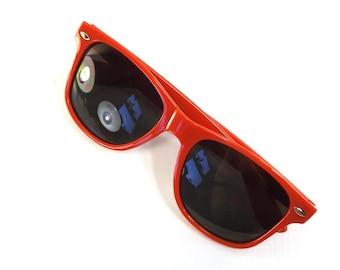 vintage 90s deadstock sunglasses wayfarer bright red plastic frame sun glasses eyewear fashion unisex simple classic dark black lens NOS 52