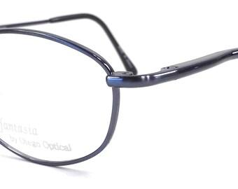 vintage 90s deadstock metallic navy blue rectangular rectangle eyeglasses metal stainless steel frames eye glasses eyewear optical otego 118