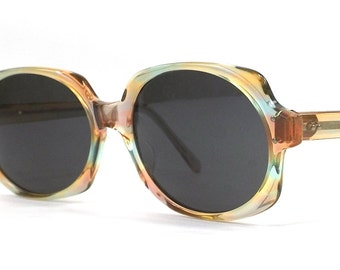 vintage 60s orange green sunglasses american optical ao rectangular rectangle oval suntique plastic sun glasses glass len eyewear fashion 76