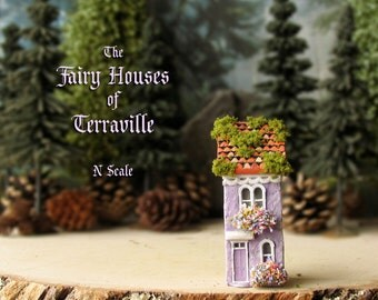 The Fairy Houses of Terraville - Enchanted Miniature Lilac Purple Terrarium House with Flower Boxes, Mossy Tile Roof - N Scale - Home Decor