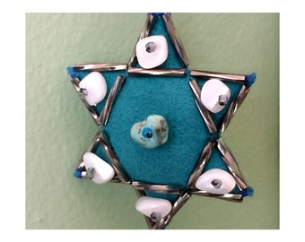 Jewish Star of David Ornament, Blue Ultrasuede with Turquoise, Mother of Pearl, and Beads