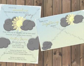 You are my Sunshine Baby Shower Invitation Sunshine Theme Baby Shower Invite Sunshine Invitation Baby Shower Thank You Card Printable Invite