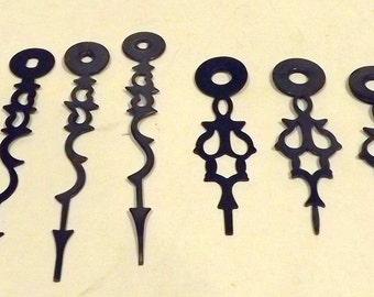 6 Black Metal Clock Hands