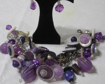 OOAK   Pretty in Purple Beaded Buttoned up  Bracelet & Earrings