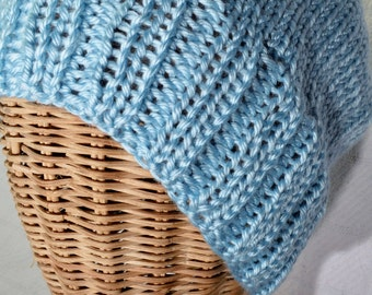 Sky Blue Slouchy Ribbed Knit Beanie Hat