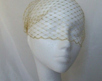 Metallic Gold Russian Veiling Birdcage Bandeau Blusher Wedding Bridal Veil - Comb Attachment