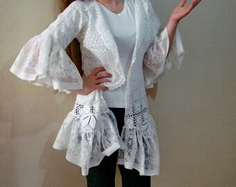 White lace Jacket, Doily Crochet Jacket Bell Sleeves Wedding Coat 3/4 Sleeve Ruffle Cardigan, Lace Jacket