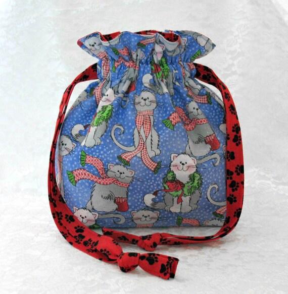 Fabric christmas gift bag lined drawstring