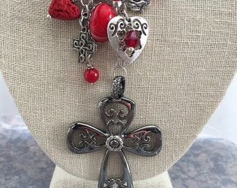 Vintage Red Cross Sarah Coventry Assemblage Upcycled Repurpose Recycled Art Deco Collage Silver Necklace Doodaba Religious