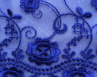 5 Yards by 7 Inches Cobalt Blue Flat Lace Trim Bridal Doll Sewing