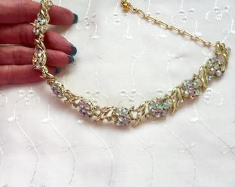 Vintage Aurora Borealis AB Rhinestone Bridal Bridesmaid Wedding Prom Art Deco Gold Necklace Doodaba