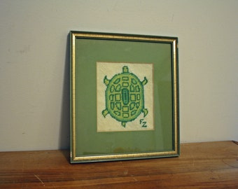 Vintage 70s  Crewel Needlepoint Embroidered Handmade Turtle Picture Wall Hanging