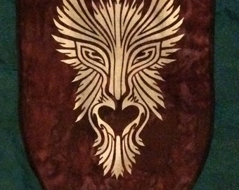 GreenMan Personal Sized Banner Screen Printed in Gold onto Brown Marbled Bali Cotton