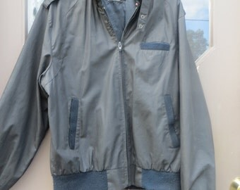 80s  Vintage   men's Outerwear from  Sears   zip up cafe racer mens black  jacket  size med