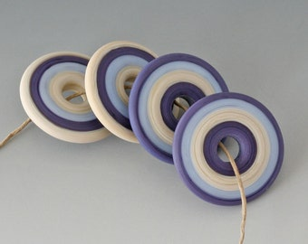 Southwest Disk Pairs- (4) Handmade Lampwork Beads - Blue, Purple - Etched, Matte