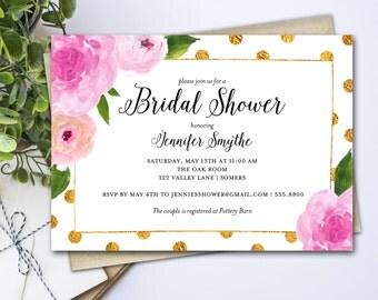 Bridal Shower Invitation / Pink Watercolor Floral Bridal Shower with Gold Polka dots / PRINTABLE INVITATION / 2237