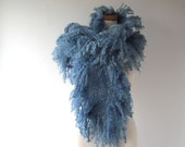 Felt Fur Curly scarf, Blue Grey fur collar Hand Felted scarf, Pure Real Fur Fleece  gift for her Organic and Cruelty Free