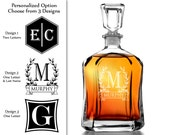 One Personalized 23.75 Oz Monogram Decanter Custom Engraved Whiskey Decanter Liquor Bottle groomsmen gift housewarming gift for him husband