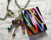 Handmade Book Necklace - Book Jewelry - Book Pendant - Book Journal - Handmade Book - Key Charm - BN-115