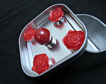 Flower magnets, Free Shipping, Fridge magnet set of roses, strong rose magnet set, red magnet set, cute strong magnets, neodymium magnet 524