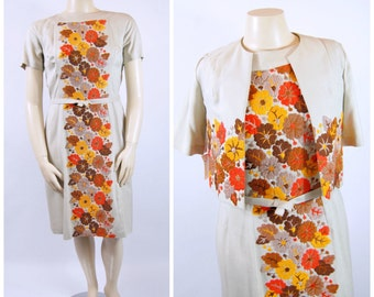 50s Orange and Brown Floral Dress - Mother of the Bride - Mother of the Groom - Dress and Jacket