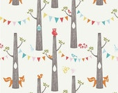 Organic Cotton Fabric-Birch- DOUBLE GAUZE- Woodland Party- Great Shipping Rates