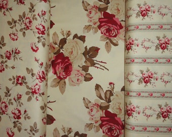 Rose Fabric Sewing Supplies Cotton Cabbage Roses By The Yard