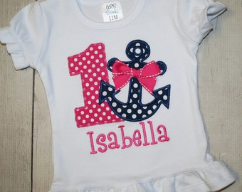 Pink and Navy Girls Anchor Nautical Birthday  Shirt- Free Personalization-- All birthday numbers- shirt or bodysuit