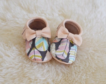 Limited Edition Peach + Feathers Baby Moccasins