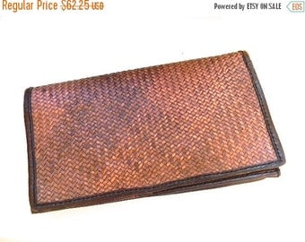 ON SALE vintage.  Large Woven Leather Clutch Wallet