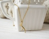 Women's Preppy Dainty Charm Necklace - Gold Antler
