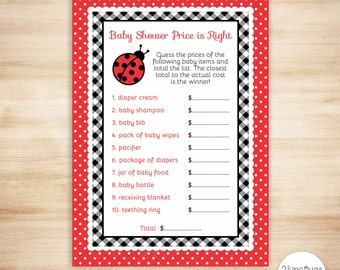 Ladybug Price is Right Baby Shower Game - Ladybug Baby Girl Shower - Spring Shower - Red and Black - PRINTABLE, INSTANT DOWNLOAD