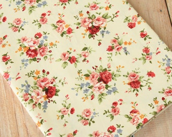 Red Peonies pretty floral cotton fabric quarter