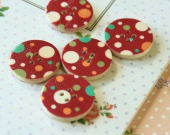 Set 7 Burgundy RED Craft Ideas Dotty Printed Wood round buttons