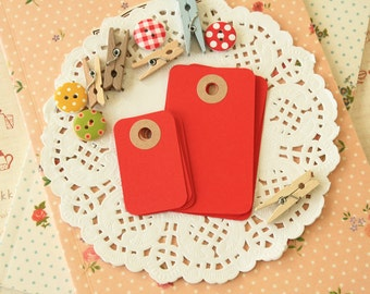 Apple Red reinforced Rounded Midi Tags
