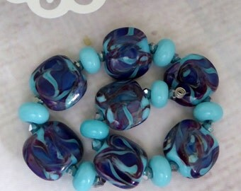 Lampwork destash bead set by Judith Billig aqua royal blue
