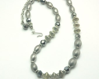 Gray Crystal Necklace Vintage Single Strand Metallic Bead Necklace