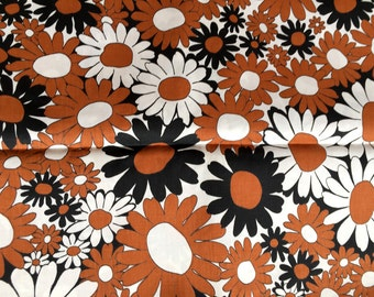 Vintage 1960's Mod Flower Power Print Cotton Broadcloth 3Yds x 45""