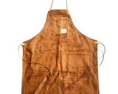 Deluxe Shop Apron w/leather RUST