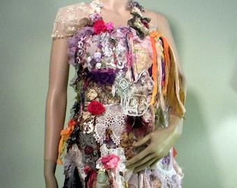 Sale - BOHEMIAN BODICE/APRON - Wearable Fiber Art, Richly Boho Tattered, Freeform Crocheted & Embroidered